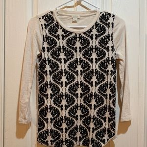 J. Crew Long Sleeve Tee Women's XS Top Cream Black